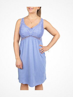 Nattlinnen - Trofé Trofe Modal Lace Nightdress Lightblue