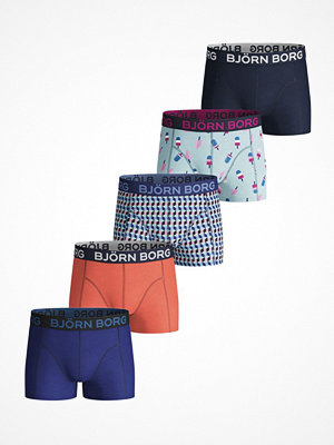 Björn Borg 5-pack Cotton Stretch Shorts For Boys 215 Blue Pattern
