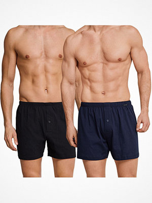 Schiesser 2-pack Essentials Jersey Boxer Shorts Black/Blue