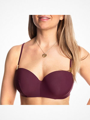 Calvin Klein Core Solid Structured Bandeu Bikini Wine red