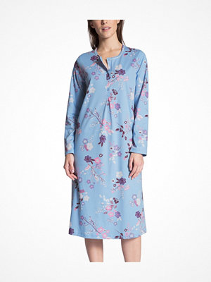 Calida Cosy Cotton Nightshirt Long Sleeve Blue Pattern