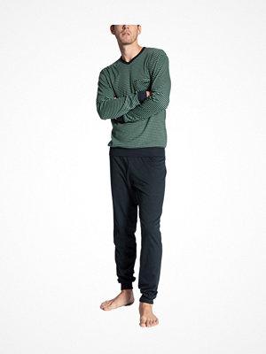 Calida Relax Streamline 2 Pyjama With Cuff Green Striped
