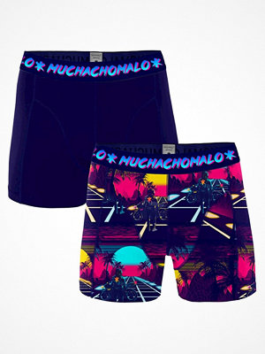 Muchachomalo 2-pack Cotton Stretch Retro Wave Boxer Blue Pattern