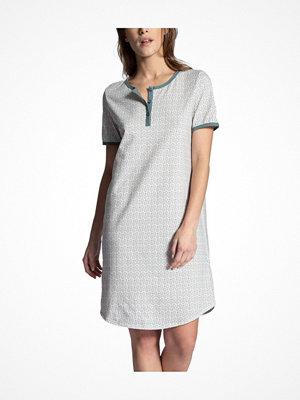 Nattlinnen - Calida Late Summer Dream Nighdress Short Sleeve White Pattern-2