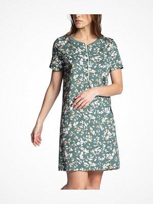 Nattlinnen - Calida Garden Nights Short Sleeve Sleepshirt Green w Flower