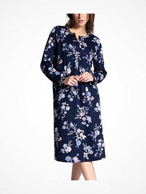 Nattlinnen - Calida Cosy Cotton Nightshirt Long Sleeve Blue w Flower