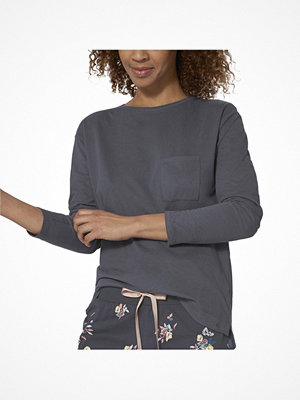 Pyjamas & myskläder - Triumph Lounge Me Cotton Mix and Match LSL Top Blue/Grey