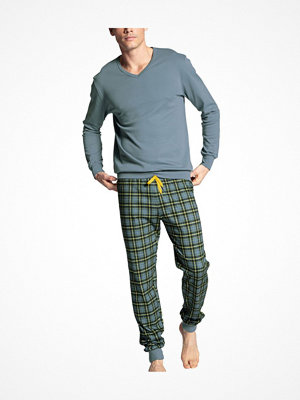 Calida Casual Warmth Pyjama With Cuff Grey/Blue