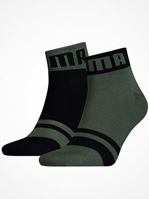 Strumpor - Puma 2-pack Logo Quarter Sock Black/Green