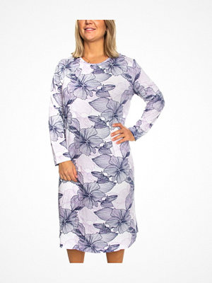 Trofé Trofe Cotton Print Nightdress Long Sleeve Blue