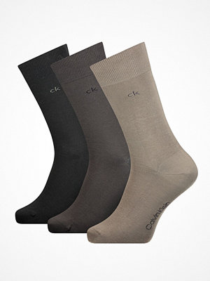 Strumpor - Calvin Klein 3-pack Eric Cotton Flat Knit Socks Darkbrown