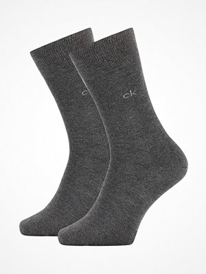 Strumpor - Calvin Klein 2-pack Carter Casual Flat Knit Sock Darkgrey