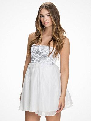 John Zack Sequin Bandeau Dress Silver/Vit