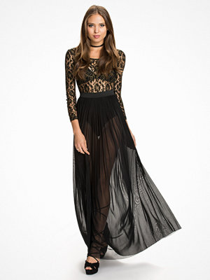 Rare London Metallic Lace Maxi Dress Svart