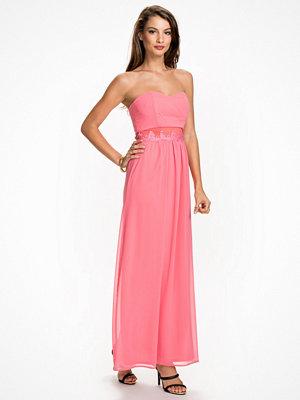 Elise Ryan Lace Trim Bandeau Maxi Dress Coral