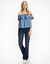 New Look Frill Denim Bardot Top