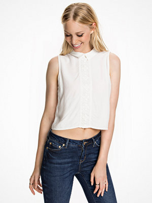 Miss Selfridge Lace Collar Shell Top White