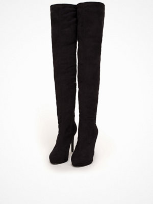NLY Shoes Platform Over Knee Boot Svart