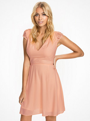 Elise Ryan Skater Lace Dress Nude