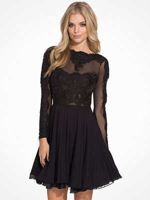 Ax Paris L/S Lace Skater Dress Black