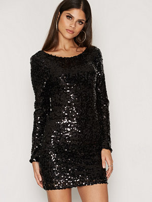 NLY One Scoop Back Sequin Dress Svart