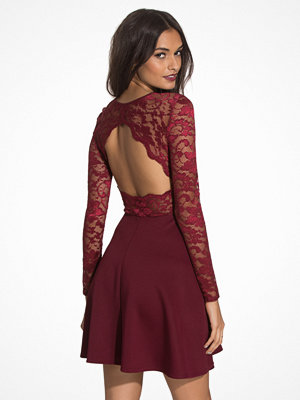 NLY One Skater Lace Back Dress Burgundy
