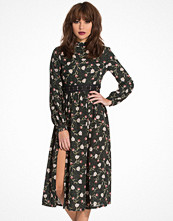 Topshop Woodland Print Lattice Waist Dress
