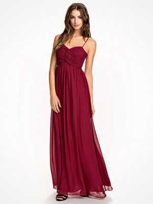 NLY Eve Wrap Bust Long Dress Burgundy
