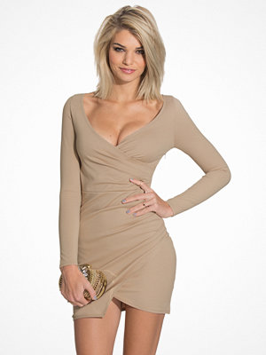 NLY One Long Sleeve Wrap Bodycon Beige