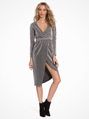 NLY Trend The Glitter Wrapped Dress Silver