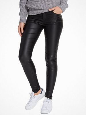 Leggings & tights - Vero Moda Vmseven Nw Ss Smooth Coated Pants N Svart