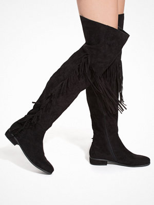 NLY Shoes Thigh High Fringe Boot Svart
