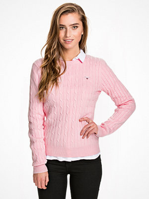 Gant Stretch Cotton Cable Crew Light Pink