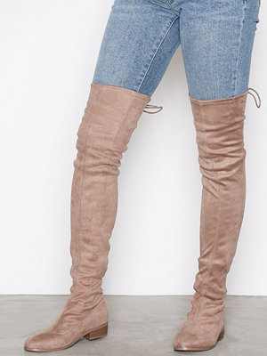 Stövlar & stövletter - NLY Shoes Flat Thigh High Boot Beige