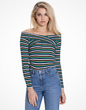 Topshop Multi Stripe Bardot Top