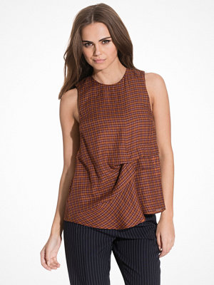 Topshop Checked Sleeveless Hitch Top Rust
