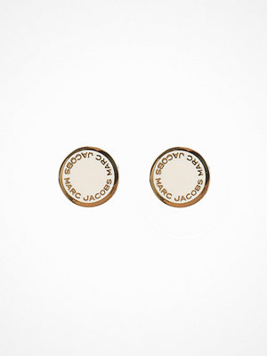 Marc Jacobs örhängen Enamel Logo Disc Studs Cream