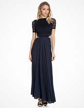 John Zack Lace Detailed Open Back Maxi Dress