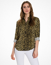 Topshop Cheetah Print Casual Shirt Tan