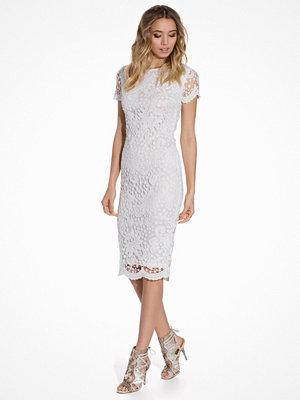 Ax Paris Short Sleeve Midi Lace Dress Cream