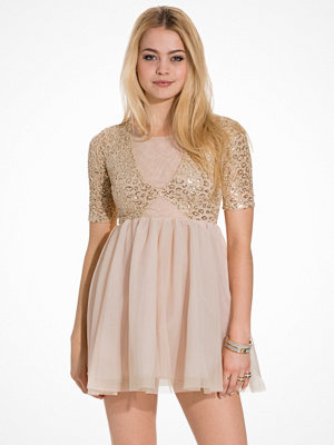 John Zack Contrast Short Sleeve Dress Gold