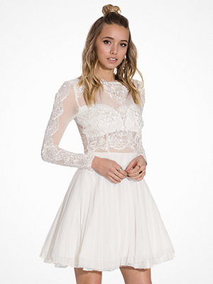 Ax Paris L/S Lace Skater Dress Cream