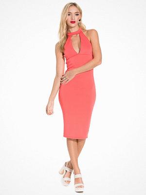 Ax Paris Keyhole Bodycon Dress Coral