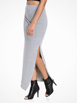 Vila Vihonesty New Maxi Slit Skirt Light Grey Melange