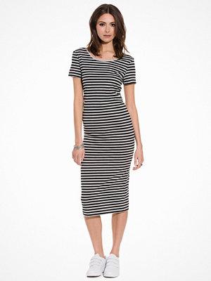 Only onlABBIE Stripe Ss Calf Dress Noos Svart