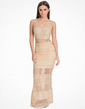 Wow Couture V-Neck Lace Blocked Maxi Dress