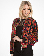 Topshop Red Scarf Print Bomber