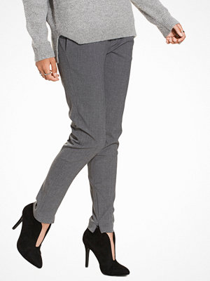 Selected Femme Slfmuse Cropped Mw Pant Noos - Mgm Grå byxor