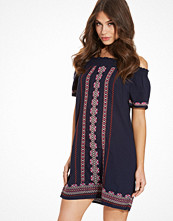 New Look Blue Embroidered Bardot Neck Dress