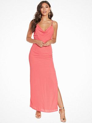 Elise Ryan Drape Front Embellished Maxi Dress Coral